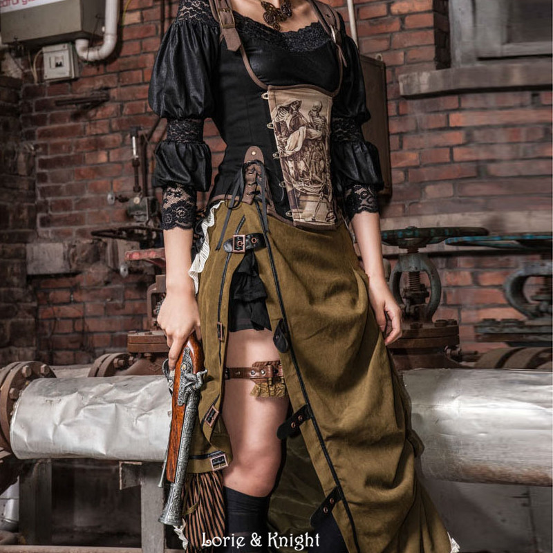 Retro Army Green Steampunk Victorian Bustle Sexy Side Slit Ruffle Hem Striped Long Skirt for Ladies uneven hem striped midi skirt