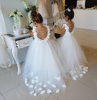 Backless white/ivory lace flower girl dress with pearls and flowers petals train kids first communion gown for wedding and party