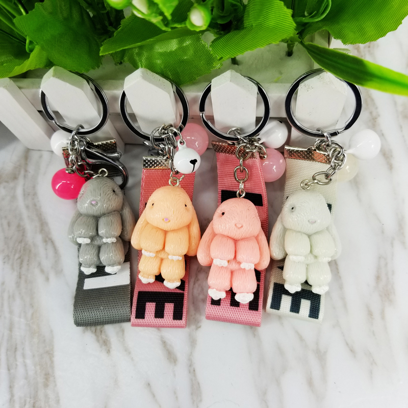 Resin Rabbit Keychain Pokemon Love Rope Key Chains Decorative Pendants For Women Bags Car Key Accessories Wedding Party Gifts