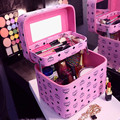 Famosa Marca europea Caja de Maquillaje Caja de Cosméticos de Doble Capa de Las Mujeres Portátil Bolsa de Embrague Organizador Caja De Almacenamiento de Belleza Neceser