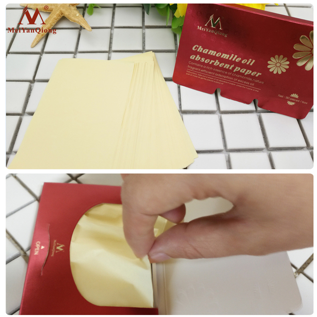 90pcs/lot Oil Absorbent Paper Natural Wood Pulp Fragrant Contains a Rich Essence of Chamomile Efficient Adsorption of Excess Oil