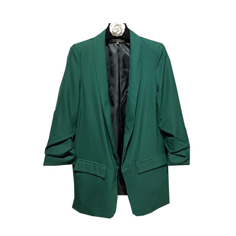 Meibeauty 3/4 sleeve open stitch jacket coat elegant formal slim jacket turn down collar women coat jacket