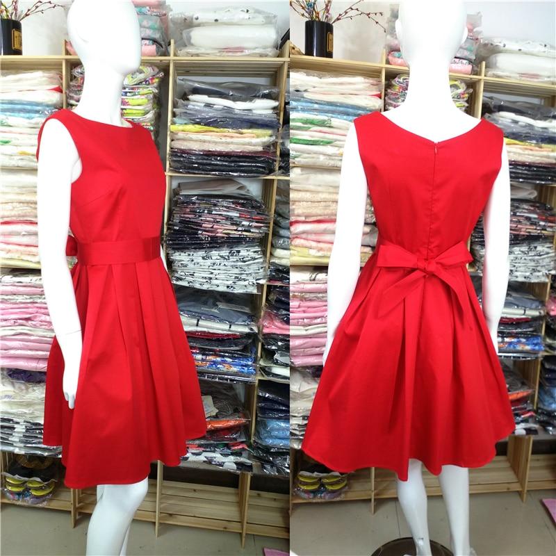 Red Black Audrey Hepburn Стиль 1950s рокабилли Dress - Әйелдер киімі - фото 4
