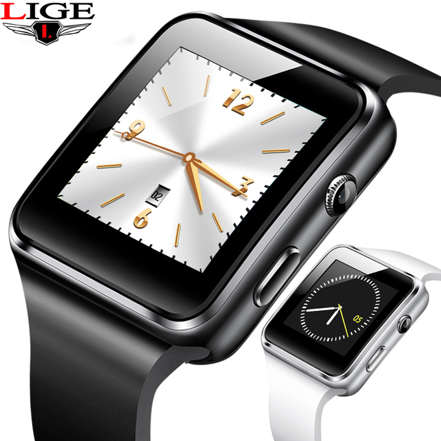 LIGE 2019 New Smart Sport Watch Bluetooth watch Support SIM Card call LED screen camera music Digital watch For Android ios+BOX