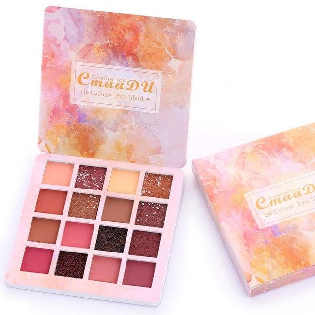Paleta de sombra de ojos profesional CmaaDu 16 colores impermeable cosmética brillante sombra de ojos mate brillo maquillaje paleta mujer sombra de ojos