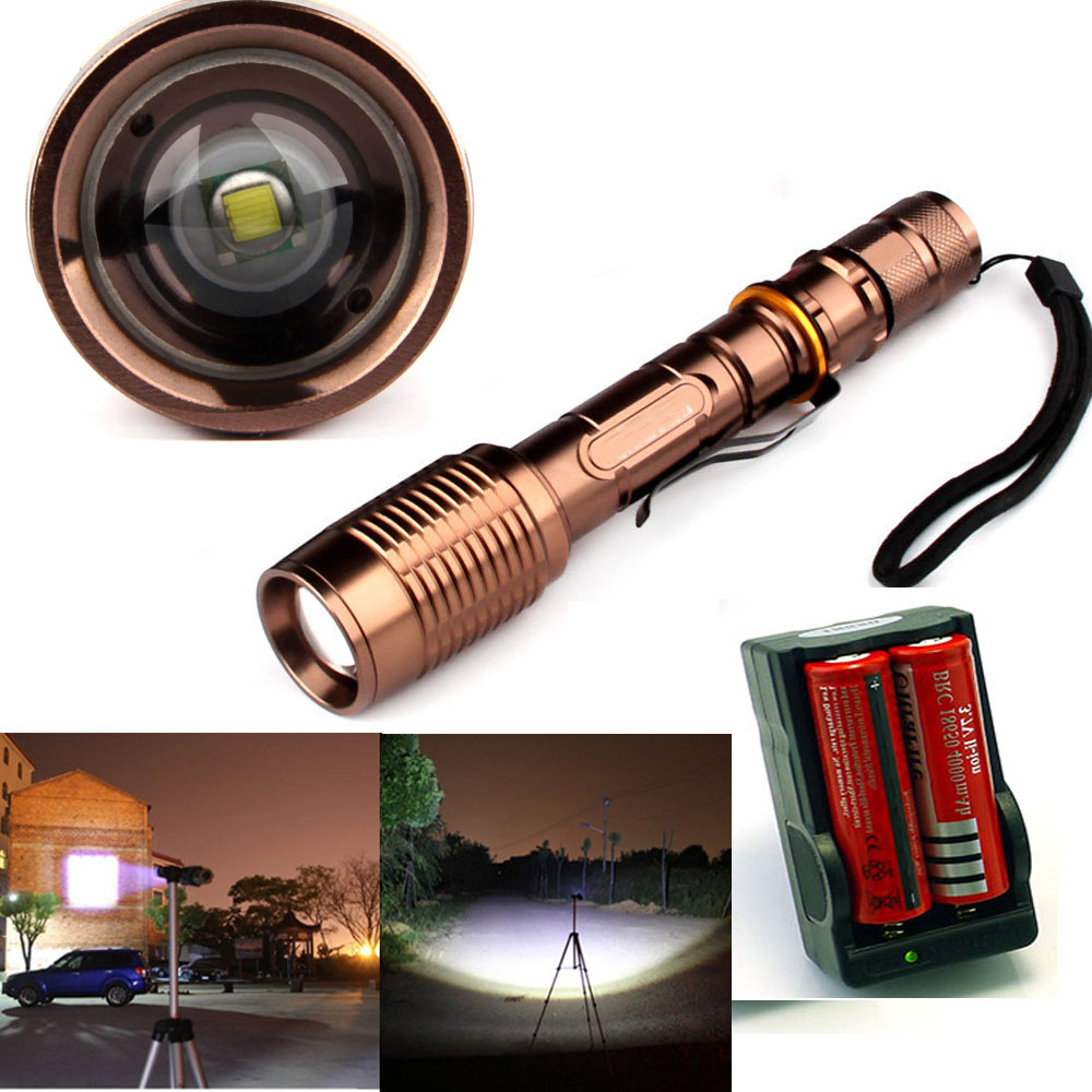 2200Lumen  CREE XM-L T6 LED Zoomable Focus 18650 Flashlight Torch 5 mode+Charger+2x18650 Rechargeable battery 950lm 3 mode white bicycle headlamp w cree xm l t6 black silver 2 x 18650