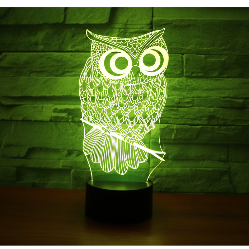 3D LED Night Lights Owl with 7 Colors Light for Home Decoration Lamp Amazing Visualization Optical Illusion Awesome image