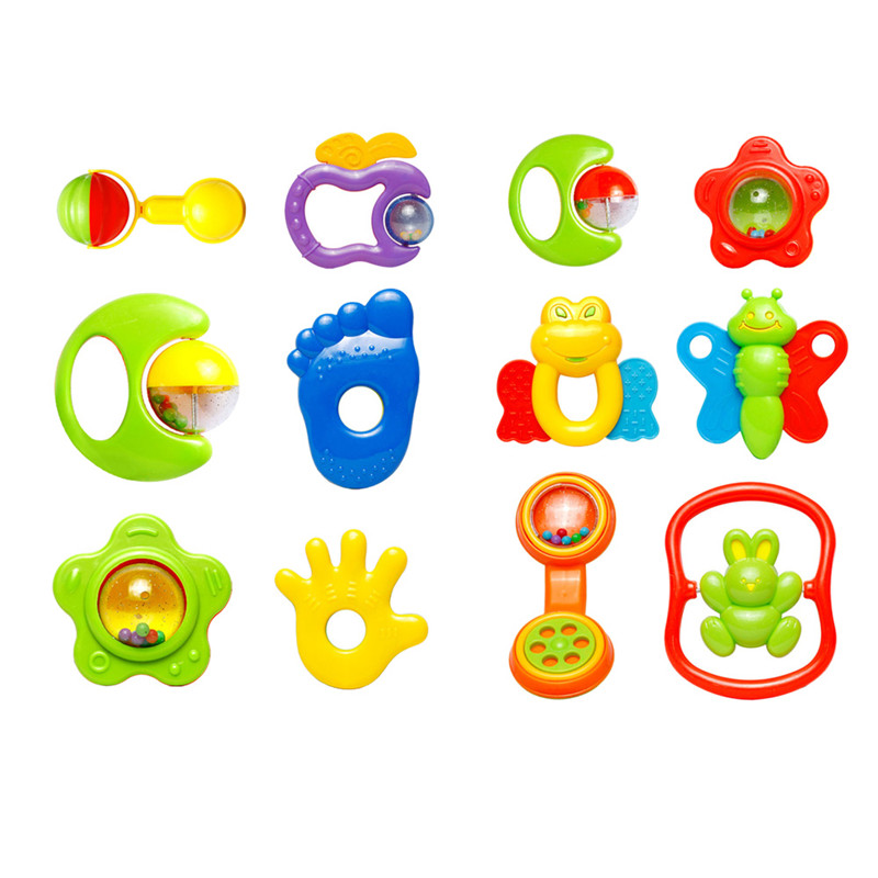 6pcs/lot Baby Rattles Baby Toy Colorful Newborn Teethers Baby Hand Grasp Rattles Combination Plastic Hand Jingle Shaking Bell