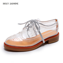 2018 New spring summer brogue Lace-Up shoes woman transparent color women platform oxfords cut-outs casual shoes plus size 33-41 gpokhds big size 33 45 high quality hot sale 2017 new style women casual black color cut outs lace up oxfords shoes flats shoes