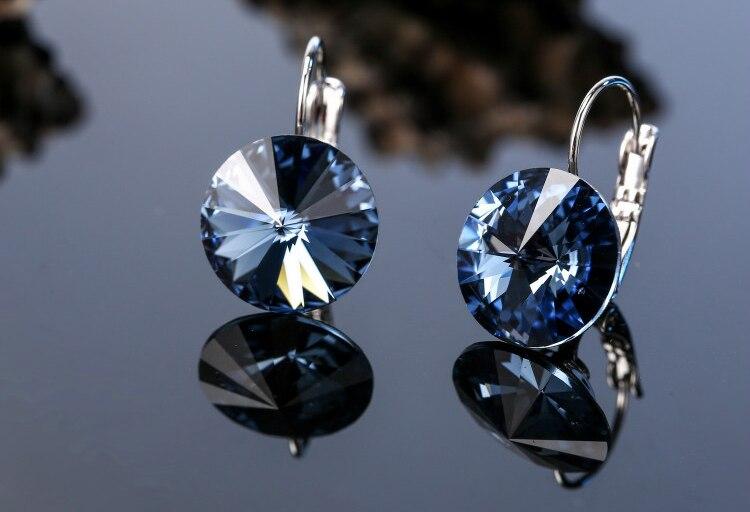 HTB1WMvXbEGF3KVjSZFvq6z nXXaz Warme Farben Earring for Women Made with Swarovski Crystal Round Stone Drop Earring Silver 925 Jewelry Earring Gift for lady