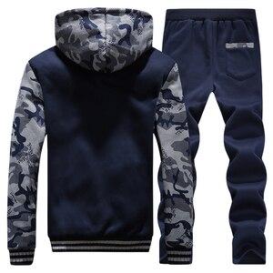 Image 4 - Inverno Tuta Da Uomo di Spessore In Pile Con Cerniera Tute Mens casual Felpe + Pantaloni Vestito di Pista Maschile 2 Pezzi di Abbigliamento Sportivo Abbigliamento Uomo