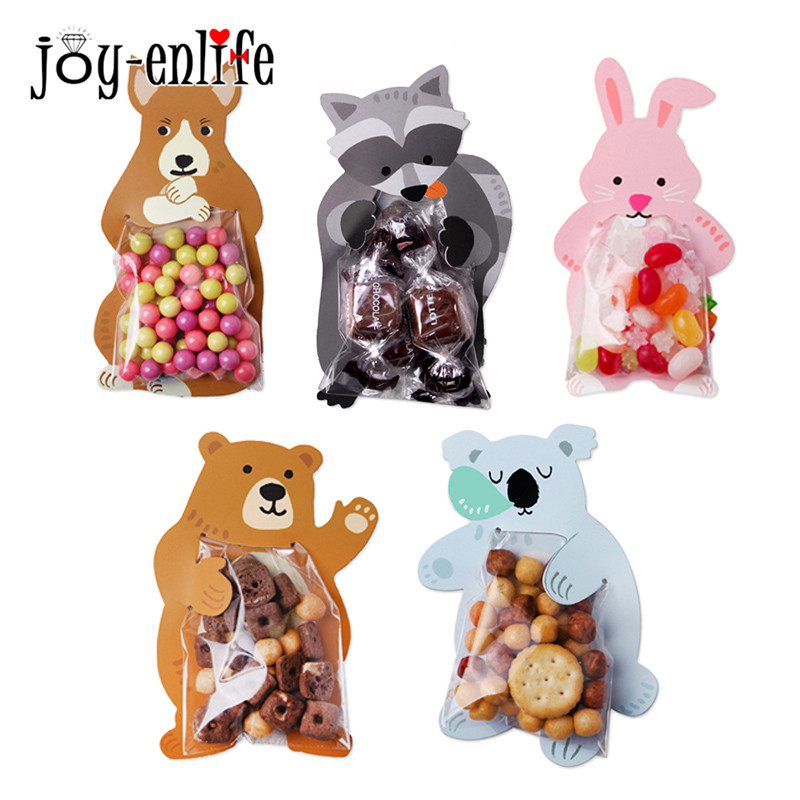 10pcs Cute Animal Bear Rabbit Candy Bags Box Cookie Bags Gift Bags Greeting Cards Baby Shower Birthday Party Wedding Decors