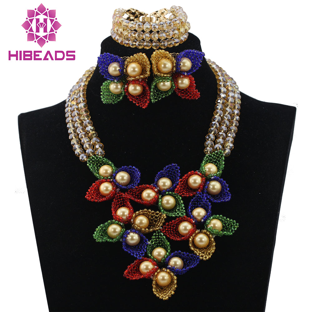 Fashion Braid Nigerian Bridal Jewelry Sets African Big Flows Beads Jewelry Set Gold Crystal Choker Necklace Free Shipping ABL639 bf 777s 400 470mhz 2 way radio walkie talkie eu plug 5w 16ch