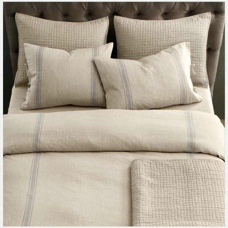 flax light grey Stripe Linen Bed Linen Duvet Cover sets  pure linen bedding king queen twinflax light grey Stripe Linen Bed Linen Duvet Cover sets  pure linen bedding king queen twin