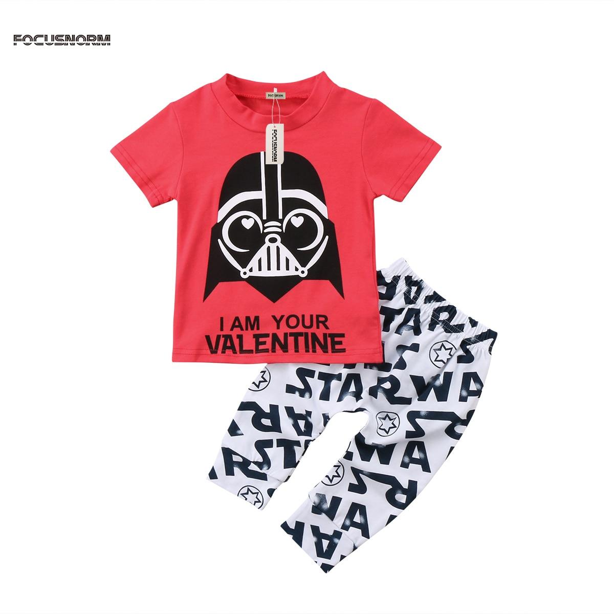Малышей Детские футболки для мальчиков с рисунком Топы и длинные штаны Леггинсы для женщин Повседневное 2 шт. Костюмы Одежда для малышей