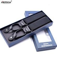 JIERKU подтяжки на кнопках мужские подтяжки унисекс черные кожаные подтяжки Новые Y-Back Ligas Tirantes 3,5*120 см 8 цветов