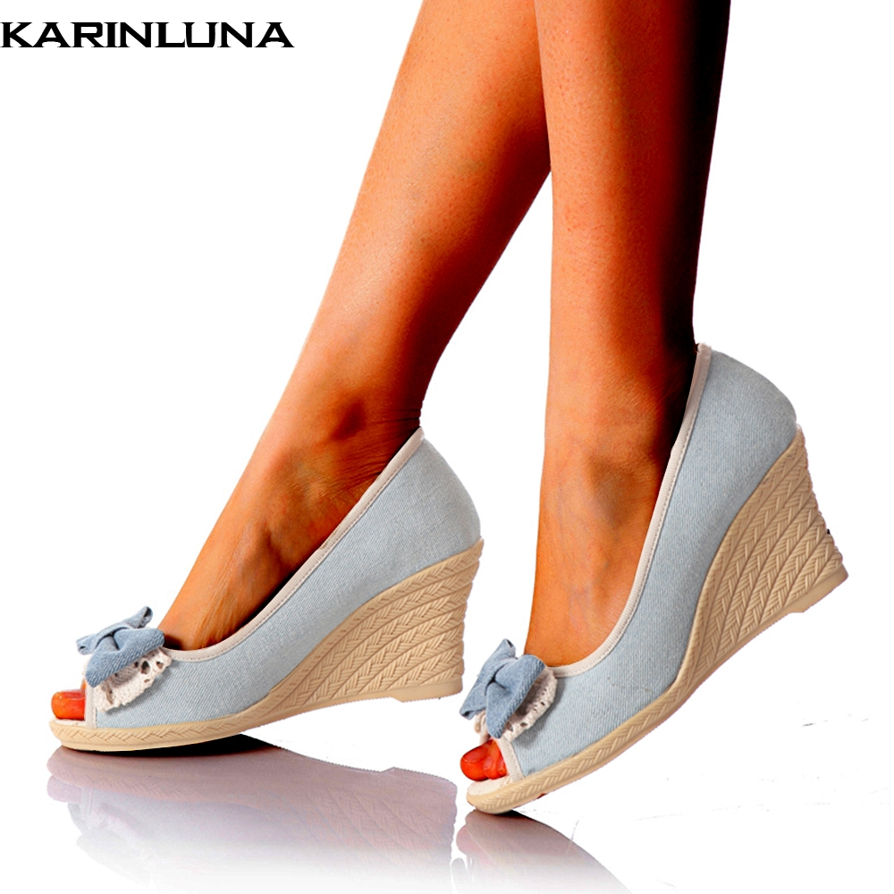 KARINLUNA 2018 Spring summer sweet Bow peep toe Woman Pumps shoes Wedge High Heels Women Shoes wholesale dropship