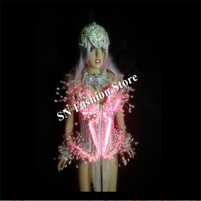 AS009 LED luz trajes de baile de las mujeres vestido de salón de - Para fiestas y celebraciones - foto 6