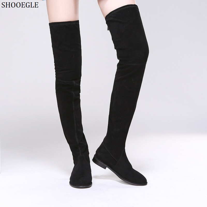 SHOOEGLE Botas Mujer Stretch Suede Women Over-The-Knee Boots Comfort Flat Bottom Thigh High Boots Back Zipper Women Long Boots