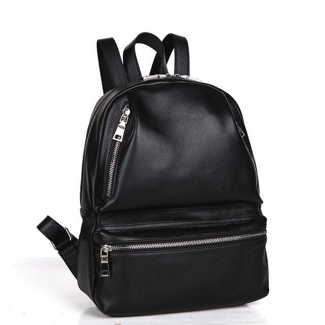8f5c3c436205 Genuine Leather Lady Back Bag Designer Trendy Girls Backpack Top Layer  Cowhide Women Fashion Casual Travel Bag Black Schoolbag
