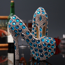 Fashion Blue Crystal Women Shoes Popular Wedding Bridal Shoes Woman High Heeled Party Princess Rhinestone Female Shoes