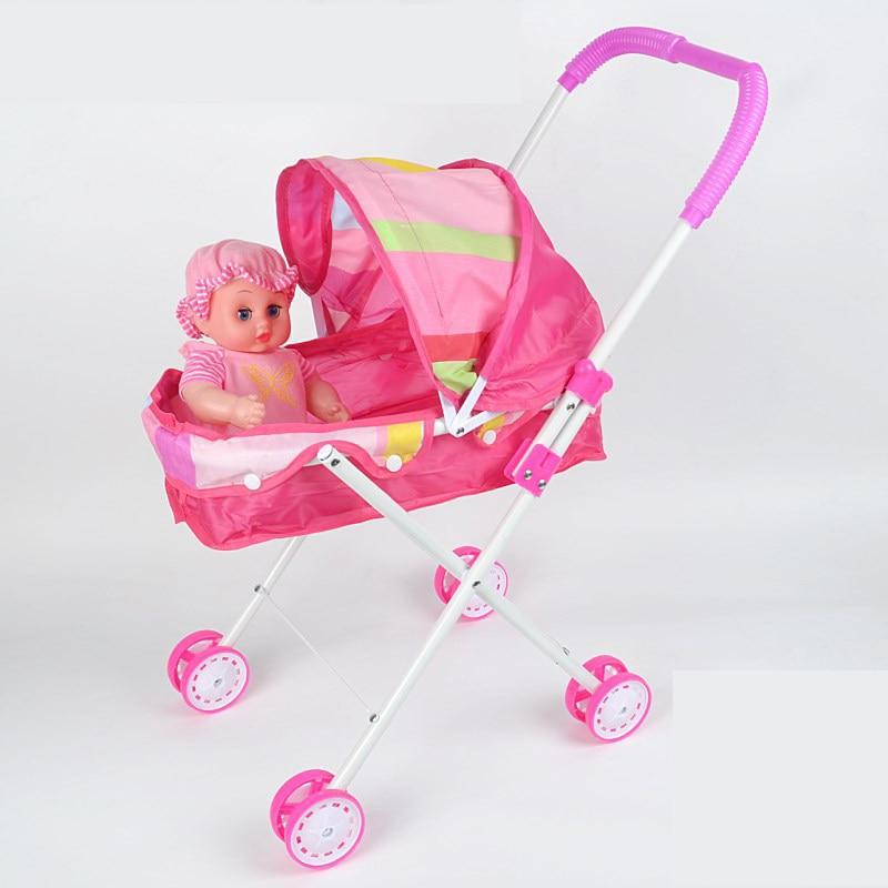 Four Wheels Stroller Simulation Baby Toy Simulation Play Toy Girl Kids Children Pretend Play Furniture Toys Baby Doll Stroller Pram Pushchair Gift
