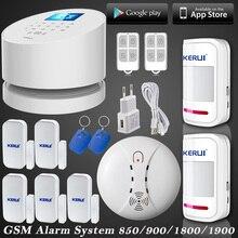 KERUI W2 WiFi RFID GSM PSTN LÍNEA telefónica de Alarma de Seguridad antirrobo Wifi sistema de alarma de su casa GSM + 5 sensor de puerta 2 detector de movimiento
