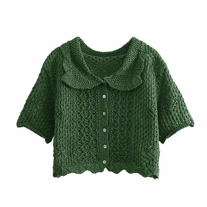 Summer Fashion Women 39 s Knitted Fabric Short Sweater Half Solid Knitted Women Hollow Cardigan Single Breasted Thin Sweaters in Cardigans from Women 39 s Clothing