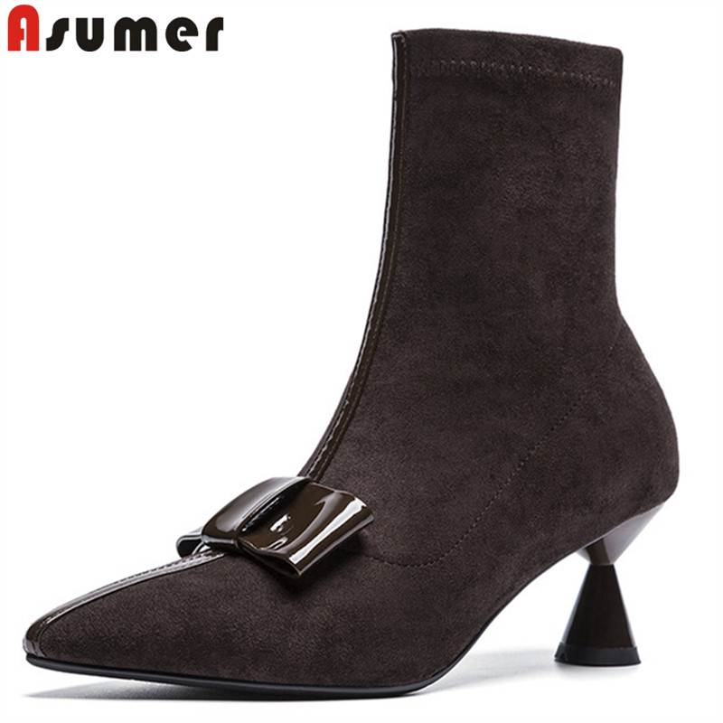 ASUMER 2018 fashion new shoes woman ankle boots women pointed toe faux suede boots high heels ladies prom boots bowknot faux leather bowknot uncle moon choker