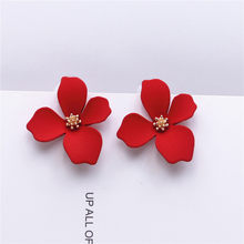 New design sweet jewelry spray paint effect stud earrings with flower earrings Statement earring for Girls gift for woman(China)