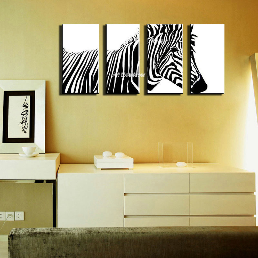 MUYA Modern abstract canvas art acrylic paintings animal black white ...
