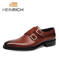 Генрих 2018 Мужская обувь Брендовая обувь из натуральной кожи британский стиль Формальные Для мужчин платье Double Monk пряжки обувь Chaussures Hommes
