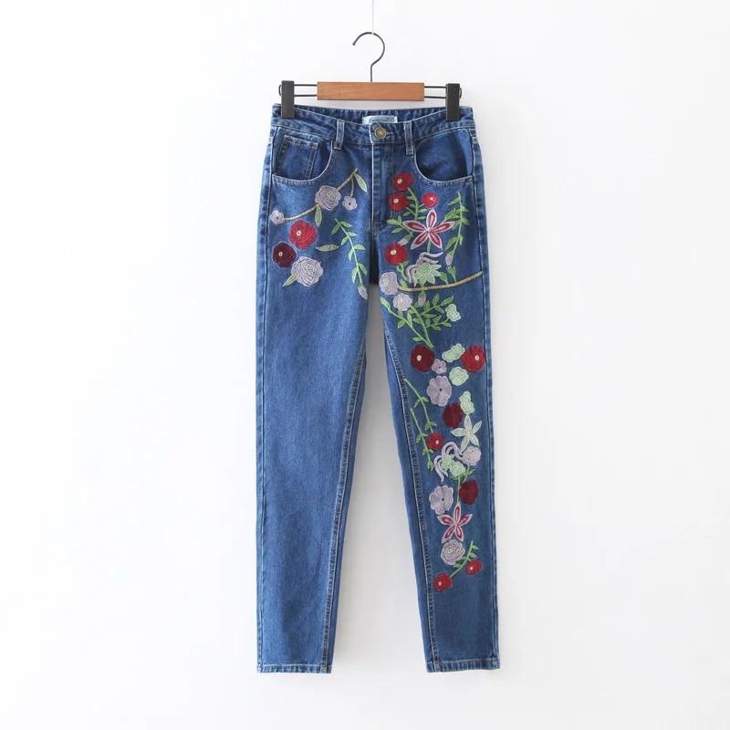 Confortable Crayon 2017 Floral Femelle Broderie Jeans Demin Occasionnels Pantalon Skinny Fermeture Poche Bouton Éclair Bleu À Mince Femmes q7wAxXwHUW