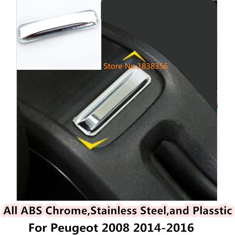 For Peugeot 2008 2014 2015 2016 car Styling cover ABS chrome Armrest handrail Trim frame lamp box rear Air Vent outlet part 1pcs