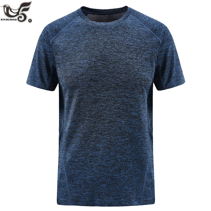 XIYOUNIAO plus size L~7XL 8XL summer new men Elasticity Breathable Solid color quick dry   t     shirt   casual bodybuilding tops&tees