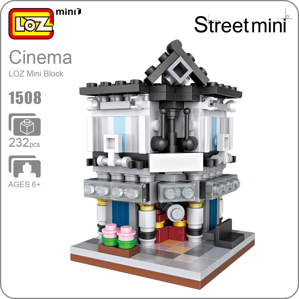 LOZ Mini Blocks Friends Cinema Model Movie Theater House For Children Bloques De Construccion City Street Mini Building Kit 1508