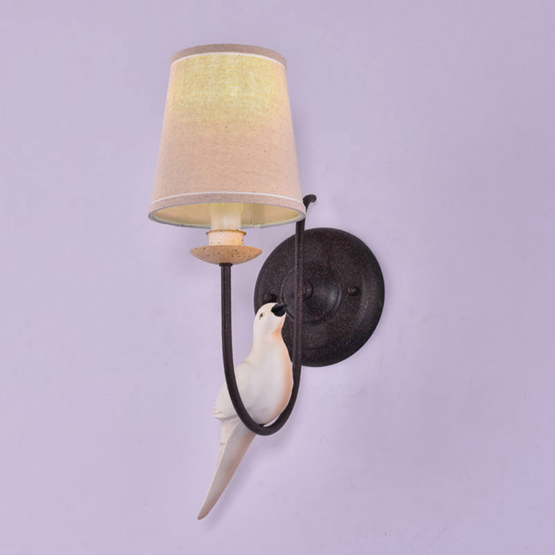 Vintage Birds Wall Lamp Sconce Bedroom Kitchen Shop Aisle Decor Light Fixtures Black Iron Fabric Lampshade Home E14 110-220V kitchen aisle stair light wall lamp vintage iron fabric lampshade decor sconces indoor home lighting gift e14 3w led bulb 220v