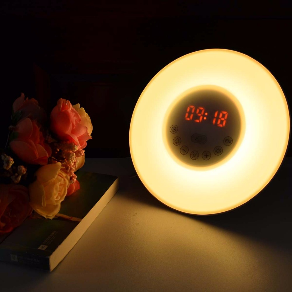 2017 New Arrival Novelty LED DC5V Sunrise Alarm Clock LED Night Light FM Radio Digital Bedroom Light RGB Wake Up Light wake up night light alarm clock sunrise simulation dusk fading night light with nature sounds fm radio touch control usb charger