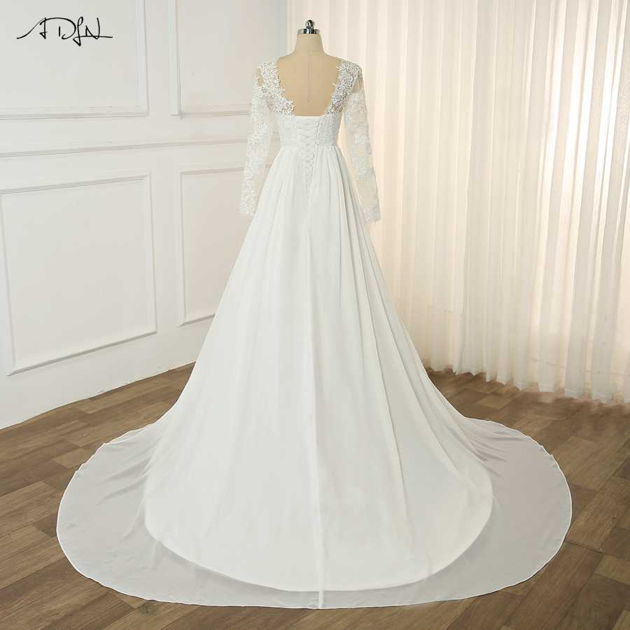 ADLN בציר ארוך שרוולי תחרת שמלות כלה Vestido דה Noiva O-צוואר אונליין שיפון חוף חתונה שמלת חזרה שרוכים