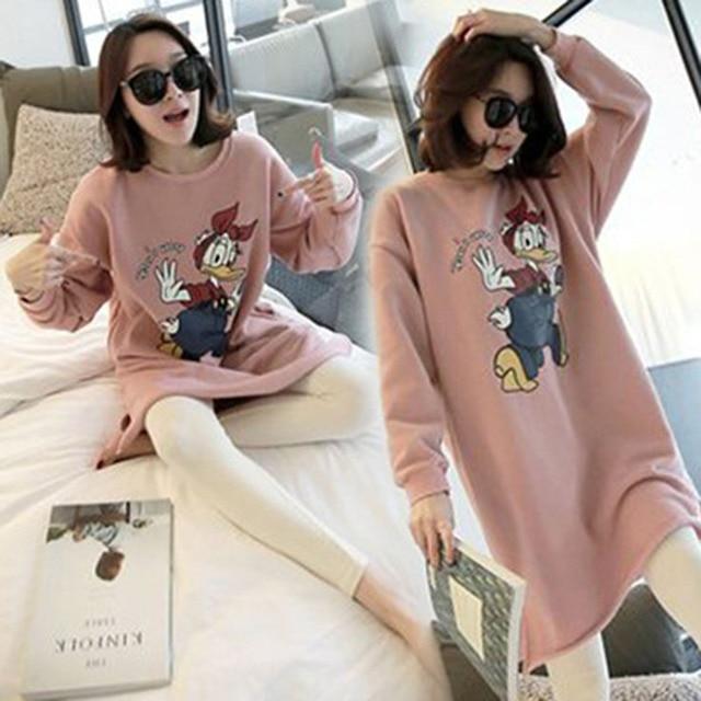 Fashion Long-sleeved Pink Ducks Maternity Clothes Sleepwear Nursing Tops Breast Feeding Clothes Nursing Pajamas Leisurewear Suit
