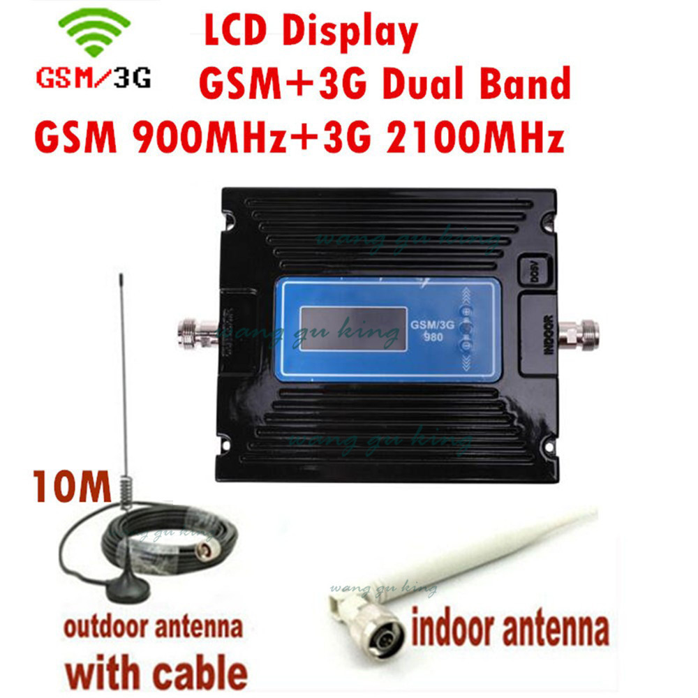 Newest 2G 3G LCD Signal booster ! GSM 900 3G 2100 Mobile Phone Booster Amplifier 3G GSM Repeater + antenna+cable For RussiaNewest 2G 3G LCD Signal booster ! GSM 900 3G 2100 Mobile Phone Booster Amplifier 3G GSM Repeater + antenna+cable For Russia