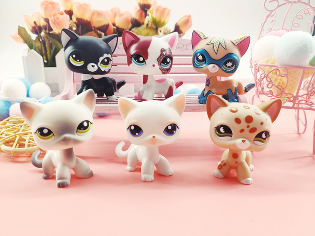 LPS Pet Shop Cute Short Hair Cat Toys Great Dane Collie Dogs PVC Action Stand Figure Toys Cosplay Dolls Model Toy Gifts For Kids 4