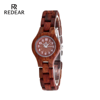 Free Shipping REDEAR Fashion Red Sandalwood Watch Woman Japan Movement Quartz Digital Display Watch Birthday Anniversary Lifts