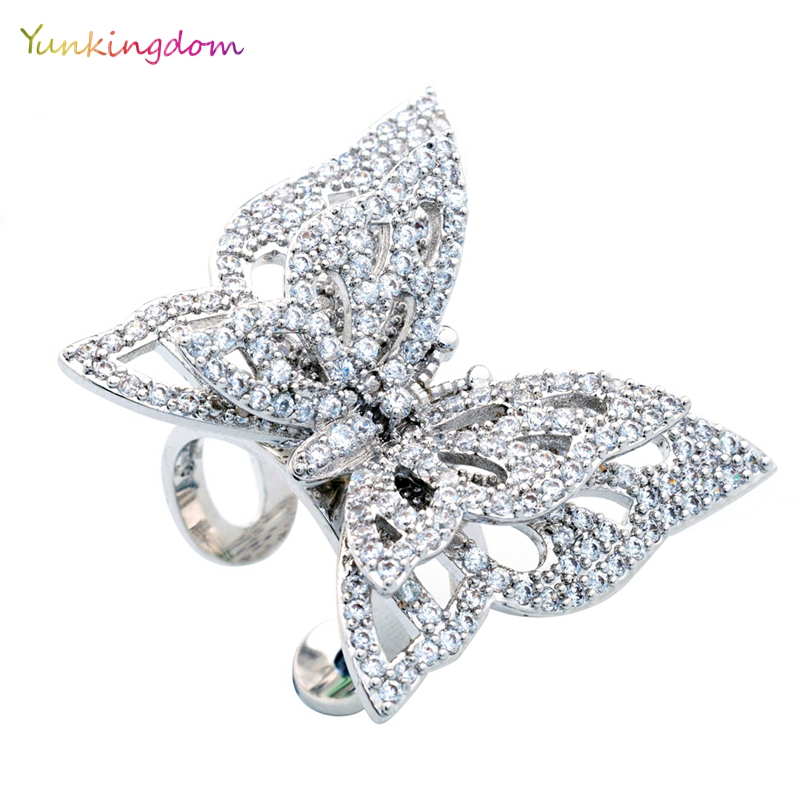 Luxury Butterfly Fine Rings EU US Women s Wedding Engagement Rings Studded Austrian crystal Gold Color