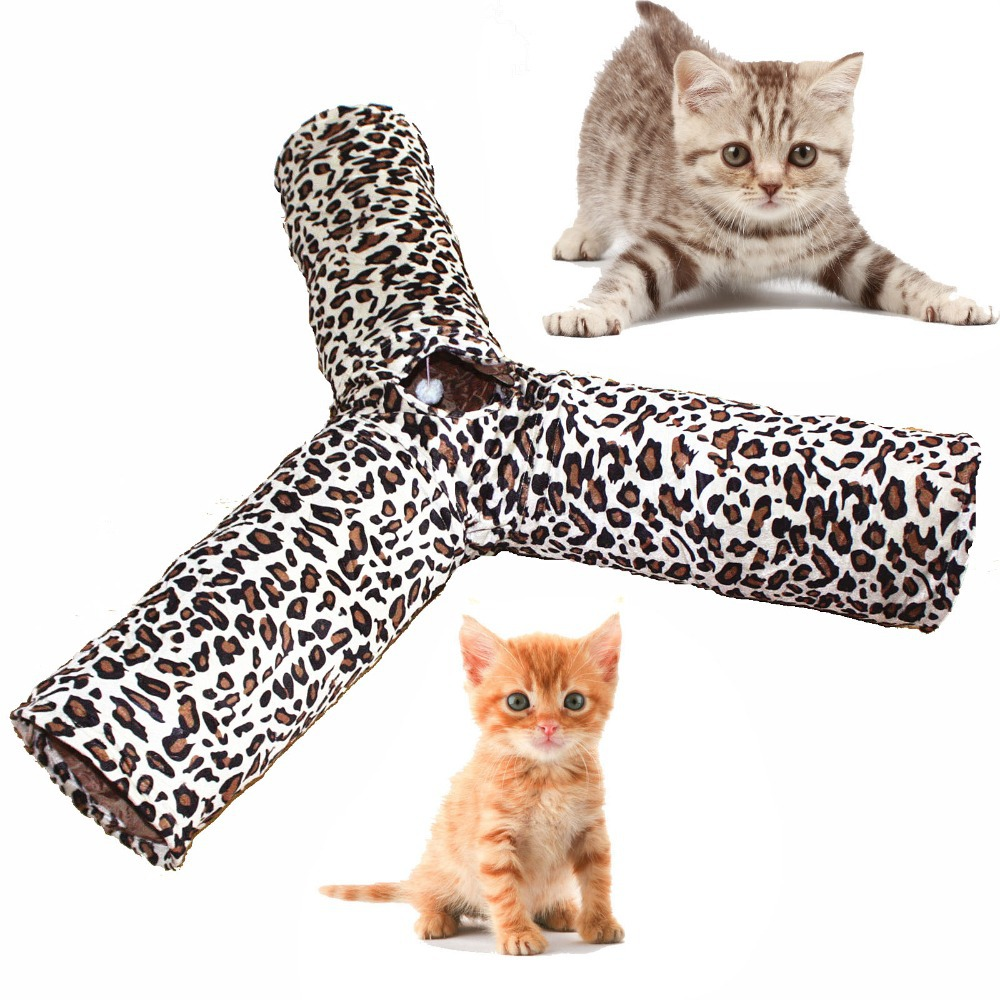 Cat Túnel Estampado de leopardo Crinkly 3 maneras Diversión Pet - Productos animales
