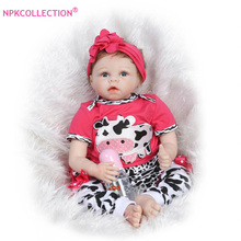 22″ Lifelike Silicone Reborn Baby Dolls in Lovely Cow Clothes 55cm Realistic Newborn Baby Dolls of Girls Toys Birthday Gifts