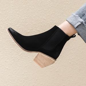 Image 3 - עור אמיתי קרסול מגפי נשים עקב גבוהה מגפיים סקסי הבוהן מחודדת 2020 חורף אופנה נעלי אישה botas mujer botte femme