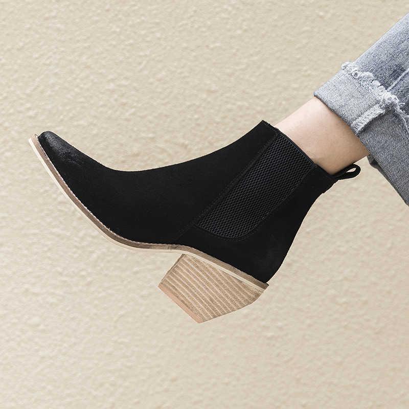 ของแท้หนังข้อเท้ารองเท้าบูทสำหรับสุภาพสตรีรองเท้าส้นสูง Sexy Pointed Toe 2018 แฟชั่นฤดูหนาวรองเท้าผู้หญิง botas mujer botte femme