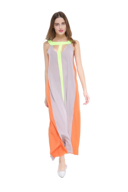 4f6e26b63d Summer Dress Sleeveless Stitching Maxi Dress Vestidos Casual Sexy Party  Dresses Vestido Party S Gray + Orange