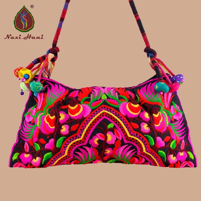 HOT! Yunnan national cotton Cloth embroidered women handbag Retro handmade color cloth balls Shoulder crossbody bags Travel bags